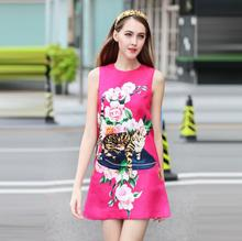 2017F/W cat flower print A-line sleeveless dress high qualitry diamonds buttons jacquard autumn dress france style sweet dress(China)