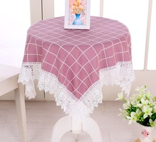 Large Plaid Cloth Square Custom Tablecloths Waterproof Oilproof Tablecover Pastoral Style Lace Bedside Cabinet Dust Cover TC013