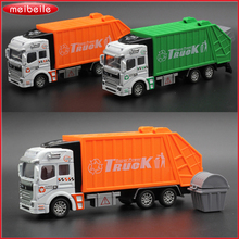 1:32 Metallic Truck Model With Plastic Carriage Toy Garbage Trucks Sanitation Trash Truck Christmas Gift For Children(China)