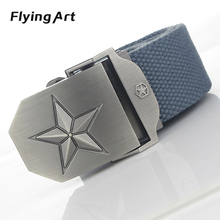 Hot Personality pentagram automatic buckle belt High quality 4mm thick, 3.8cm with canvas belts For woman Cowboy belts for men(China)