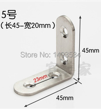 One Pair 45*45*20mm stainless steel angle bracket L shape satin finish frame board support(China)