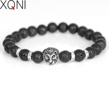 XQNI Brand Strand Lava Rock Stone Energy Beaded Charm Bracelets For Men Vintage Animal Lion Head Beads Bracelets Male Jewelry