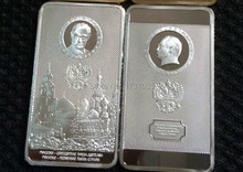 2 pcs/lot The President of Russia Putin moscow kremlin pure silver plated Russian bullion bar coin
