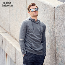 Enjeolon brand Long Sleeve hoody Sweatshirt Men 100 cotton clothes Black casual Sweatshirt Men Solid Pullover Clothing WY107(China)