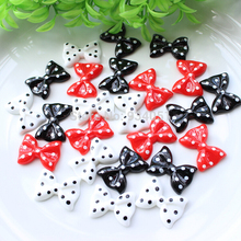 Set of 100pcs Black White Red Polka Dots decor Bow Cabochon L28mm Resin for Cell Phone Decor, Hairwear Embellishment, DIY Craft