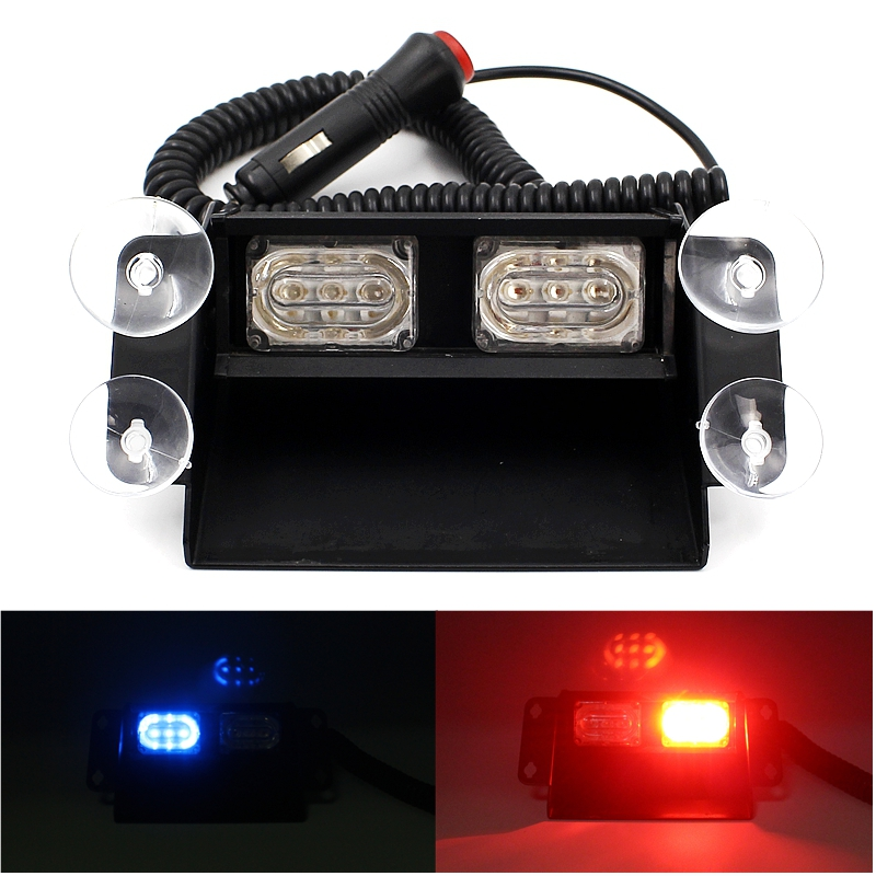 Super Bright 6 LED Strobe Flash Warning Lights Car Styling 6W Red Blue Fireman Police Beacon Emergency Lamp With Multiple Modes<br><br>Aliexpress