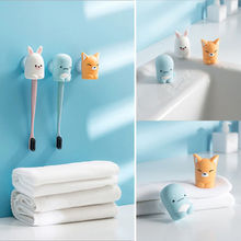 Lovely Home Bathroom Cartoon Toothbrush Suction Holder Rack Wall Mount Hang Stand(China)