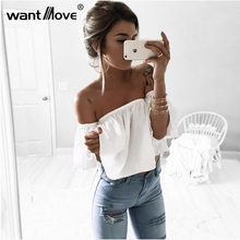 Wantmove 3 colors white red S-XL t shirt women butterfly sleeve off the shoulder crop top 2017 summer layered femme JZ001