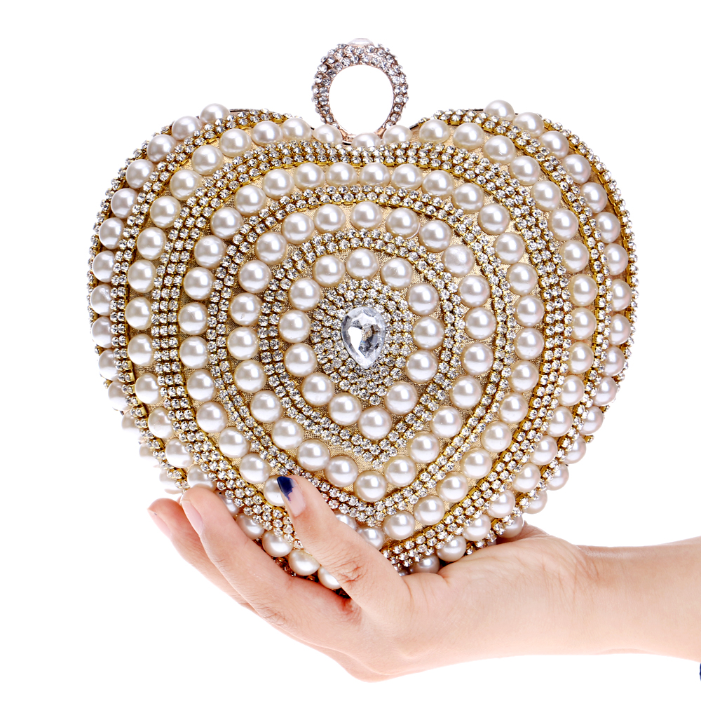 Wedding Brides Handbags Luxurious Purse Beaded Diamonds Evening Bags Ring Rhinestones Day Clutches Heart Design Pearl Bag<br><br>Aliexpress