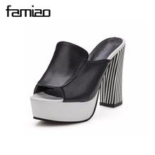 Summer 2017 new leather sandals and slippers women platform sandals shoes wedges platform shoes with comfort in Korea B0990(China)