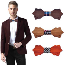 Geometric Design Fashionable Wooden Bow Ties Men Natural Wood Bow Tie British Style Personality Accessory Clothes All Matched