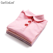 Carsinlon Free Shipping Autumn Girls Polo Shirt Long Sleeve Peter Pan Collar Solid Thin Cotton Kids Tops Tees Strawberry buckle(China)