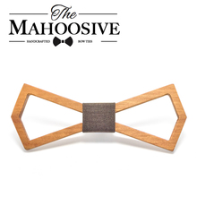 Mahoosive 2017 New Design Handmade Hardwood Mens Wooden Bow Ties Gravatas Corbatas Business Party Ties For Men Wood Ties(China)