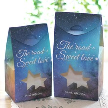 1PC Blue star holding candy box Hollow Sky candy gift bag Carton box Wedding Candy Gift Box Romantic Sky Favor Box V4(China)