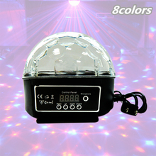 24W Sound Control Stage Light 8 Colors 110-220V 14+3 Modes LED Magic Crystal Ball Lamp Disco Light Laser Wedding Party Lamp