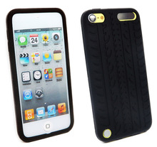 Black Tires Soft Silicone Gel Skin Case Cover For Apple iPod Touch 5 5th 5G Gen / Touch 6 6th Back Cases Covers