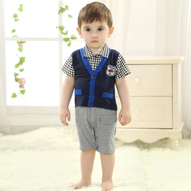 Boys Handsome Two Pieces Plaid Shirts And Shorts Baby Boy Clothes Toddler Clothing Set For 0 To 24 Month KS-1436<br><br>Aliexpress
