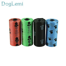 doglemi lovely pet 10Roll=150PCS Degradable Pet Dog Waste Poop Bag With Printing Doggy Bag hot selling sep923