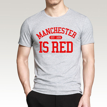 United Kingdom Manchester is Red printed men t shirt 2016 summer plus size 100% cotton high quality top tees hip hop style