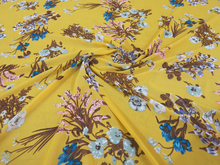 Wholesale yellow ground beautiful floral pattern unique design soft chiffon textile