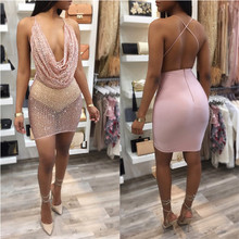 Bodycon Party Sequin Dress Women Shinning Sexy Backless Slip Club Dresses 2017 Fashion Plunge Neck Elegant Mini Dress Wholesale(China)