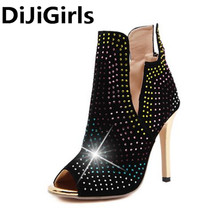DiJiGirls 2017 European Roman Peep Toe Rhinestones Party High Heels Summer Boots Peep Toe Ankle High Boots Shoes Woman