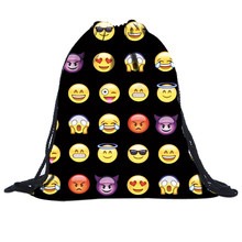 Unisex Emoji Backpacks 3D Printing Bags Drawstring Backpack bolsos Best Deal Hot Women fashion hand bag women 2017 free shipping
