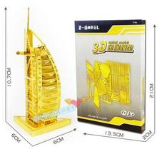 Candice guo Z-model 3D metal puzzle building model the world in sight Burj Al Arab Dubai hotel build hand work free shipping 1pc(China)