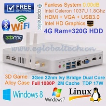 Fanless Mini PC Linux Windows Ubuntu With 4G DDR3 Ram 320G HDD Intel Celeron 1037U 1.8Ghz Media Player HTPC DHL Free Shipping