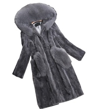 Luxury Genuine Piece Mink Fur Coat Jacket Fox Fur Hoody Autumn Winter Women Fur Warm Outerwear Coats Garment 3XL 4XL LF4225(China)