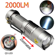 LED Flashlight 2000Lumens Silver Torche Lampe CREE Q5 Lanterna LED 3 Modes Zoomable Torch zaklamp taschenlampe torcia Linterna(China)