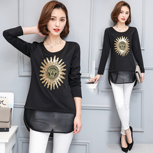 JIBAIYI plus size tees women 2017 new spring long sleeved t-shirts ladies tops embroidered slim patchwork big t shirts brand 4XL