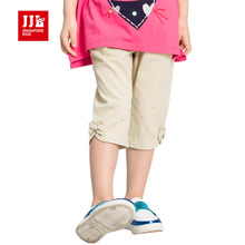 jjlkids 2017 summer girls capris khaki kids pants knee lenght girls clothing kids bottoms girls trousers brand(China)
