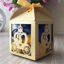 50pcs light gold lovely Decoration Candy box paper boxes Gift box Rustic & Lace Pearl Favor Box With Ribbon Wedding gold silver(China)