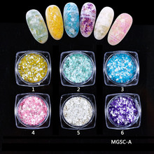 6colors Mica Flakes- Marshmallow Marble Stone Nail Flakes Glitter Cotton Candy Nail Sequins Dust Manicure Nails Art Decorations(China)