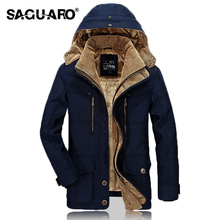 SAGUARO Man Jacket 2017 Winter Fur Hooded Thick Coat Warm Cotton-Padded Jackets Men Fashion Casual Military Parka Men Plus Size(China)