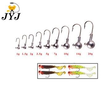 Купи JYJ 50 шт. привести джиг-головки рыболовный крючок 1 г-20 г джиг Крючки для мягкой рыбалка приманка из углеродистой Сталь рыболовные крючки мягк... на алиэкспресс со скидкой