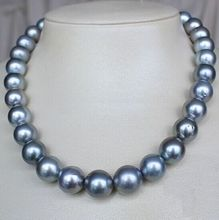 "Free Shipping HUGE 17""11-13MM NATURAL SOUTH SEA GENUINE SILVER GRAY GREY PEARL NECKLACE"