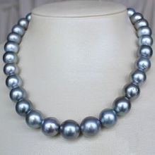 "Free Shipping HUGE 17""11-13MM NATURAL SOUTH SEA GENUINE SILVER GRAY GREY PEARL NECKLACE(China)"