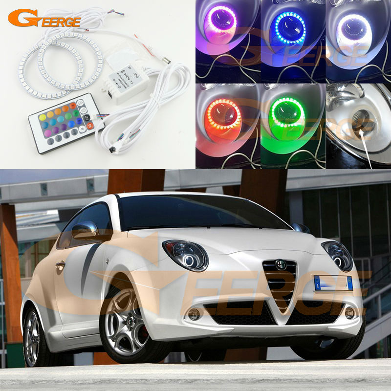 For Alfa Romeo Mito 2008 2009 2010 2012 2013 2014 2015 Excellent Multi-Color Ultra bright 7 Colors RGB LED Angel Eyes kit<br>