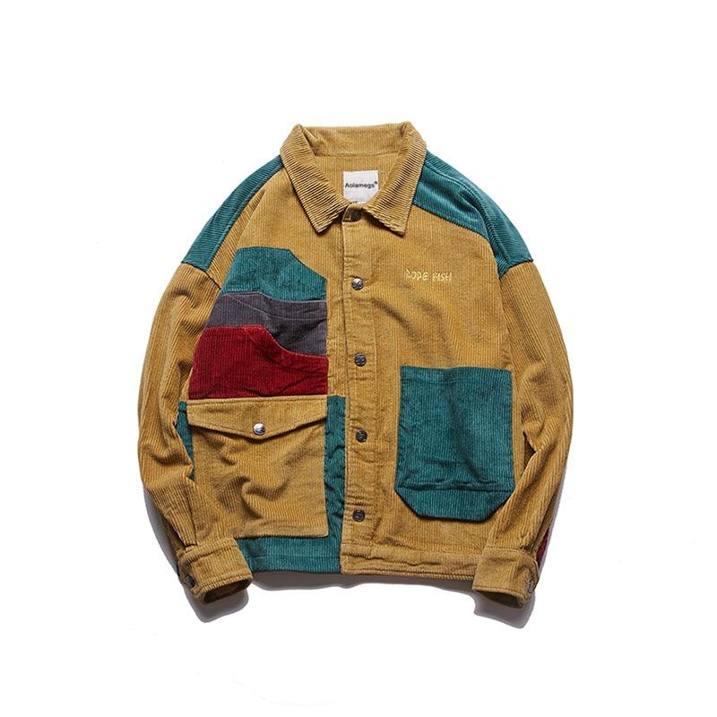 Aolamegs Jacket Men Corduroy Patchwork Men\`s Jacket Pockets High Street Fashion Casual Outwear Men Coat 2018 Autumn Streetwear (12)