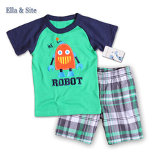 Toddle Boys Clothing Set Summer Children Clothes 2 Piece Suit Casual Cotton T shirt and boys shorts baby set fit 1-5 Years kids(China)