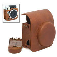 For Fujifilm Instax Mini 90 NEO Classic Camera Protective Caiul Pu Leather Carry Case Bag Brown with Shoulder Strap(Hong Kong)