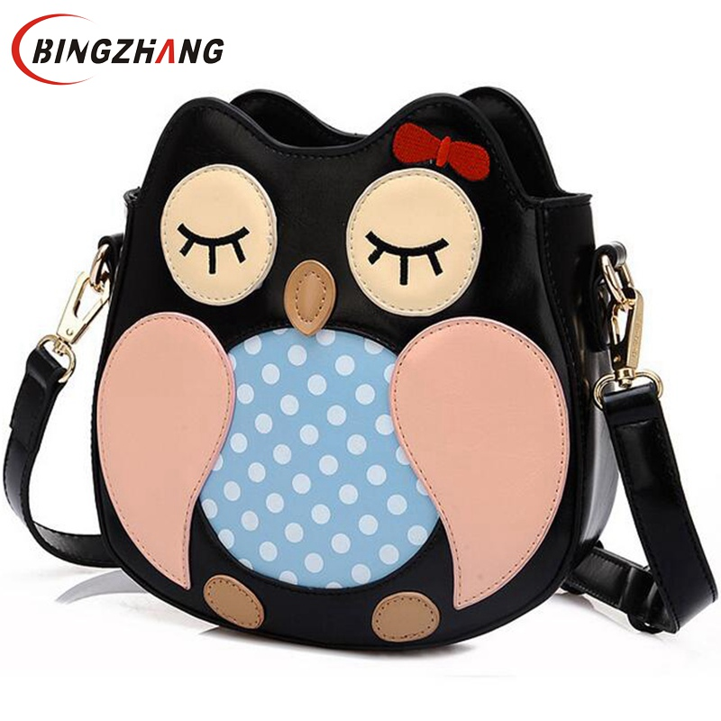 Women bag Lovely Owl Women Messenger Bags Patchwork Campus Women Leather Handbags Leisure Shoulder Bags L4-2528<br><br>Aliexpress