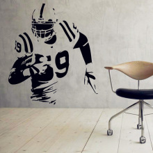 American Football Vinyl Wall Decal - Sport Kids Boys Wall Sticker Interior Home Decor Art - Soccer Athlete Mural Design