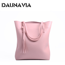 DAUNAVIA Women Soft Leather Handbag High Quality Women Shoulder Bag Luxury Brand Tassel Bucket Bag Fashion Handbags women bag