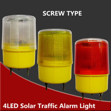 Solar Powered Traffic Light,white/yellow/red LED Solar Safety Signal Beacon Alarm Lamp Solar Emergency LED Strobe Warning Light(China)