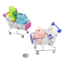 Supermarket Simulation Toys Creative Novelty Birthday Gift Cellphone Holder Shopping Cart Storage box Kid Baby Toys Mini Trolley