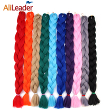 AliLeader 36 Inch Jumbo Braid Hair 165G 20 Different Pure Color Pink Gray Green Red Braiding Hair Bundles Synthetic Expression