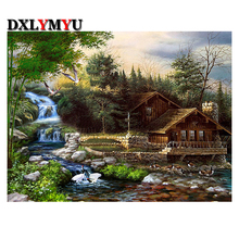 Full square diamond embroidery mosaic forest pattern 3d diy diamond painting set Mountain Cabin picture ,5d cross stitch kits